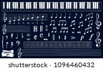 music notes doodles set. piano... | Shutterstock .eps vector #1096460432
