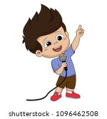 kid sing a song.vector and... | Shutterstock .eps vector #1096462508