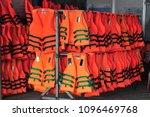 life jacket in orange color... | Shutterstock . vector #1096469768