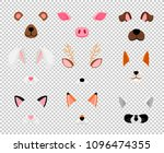 animals masks. face masking for ... | Shutterstock .eps vector #1096474355