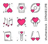 love line icons set. happy... | Shutterstock .eps vector #1096481198