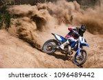 motocross rider creates a large ... | Shutterstock . vector #1096489442