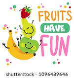 isolated print fruits have fun...   Shutterstock .eps vector #1096489646