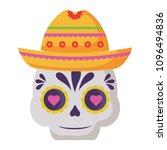 mexican sugar skull design | Shutterstock .eps vector #1096494836