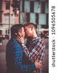 passionate gay couple kissing... | Shutterstock . vector #1096505678