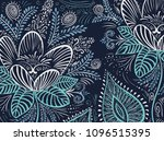 vector doodle blue and silver... | Shutterstock .eps vector #1096515395