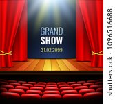 theater stage with curtain.... | Shutterstock .eps vector #1096516688