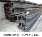 steel beam lay on concrete... | Shutterstock . vector #1096517132