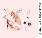 fashion female shoesand ... | Shutterstock . vector #1096536938