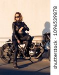 sexy biker young lady in black... | Shutterstock . vector #1096539878