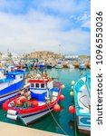 colorful fishing boats... | Shutterstock . vector #1096553036