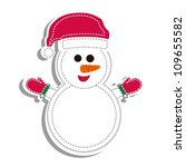 illustration of cartoon snowman white gloves, vector illustration - stock vector