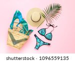 bikini swimsuit with tropical... | Shutterstock . vector #1096559135