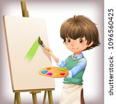 little boy painting character... | Shutterstock .eps vector #1096560425