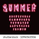 pink neon alphabet with... | Shutterstock .eps vector #1096563506