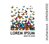 flying butterflies abstraction. ... | Shutterstock .eps vector #1096564532