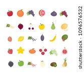 different fruit set. all kinds... | Shutterstock . vector #1096576532