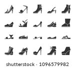 shoes silhouette icons set.... | Shutterstock .eps vector #1096579982