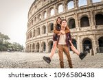 young couple at the colosseum ... | Shutterstock . vector #1096580438