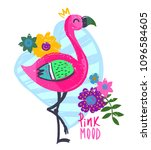 pink mod. summer tropical t... | Shutterstock .eps vector #1096584605