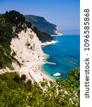 Small photo of The wonderful and unspoiled beach of Numana, mount Conero, Italy.