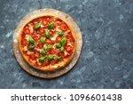 pizza margherita on the chalk... | Shutterstock . vector #1096601438