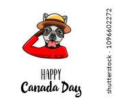 bulldog. canada day card. dog... | Shutterstock .eps vector #1096602272