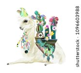 cute hand painted mexican llama ... | Shutterstock . vector #1096603988