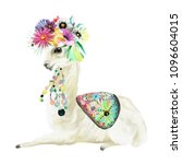 cute hand painted mexican llama ... | Shutterstock . vector #1096604015