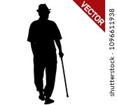 old man silhouette with stick... | Shutterstock .eps vector #1096611938