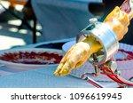 leg jamon serrano prepared for... | Shutterstock . vector #1096619945
