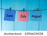 three summer month   june  july ... | Shutterstock . vector #1096624028