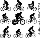 bicyclists silhouettes   vector | Shutterstock .eps vector #1096627958