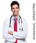 young smiling doctor isolated... | Shutterstock . vector #1096637996
