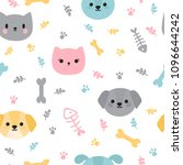 Stock vector childish seamless pattern with cute little puppies and kittens trendy background with cartoon dogs 1096644242