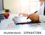 graphic designer hands using...   Shutterstock . vector #1096647386
