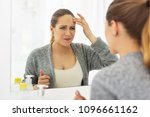 age sign. mad dismal woman... | Shutterstock . vector #1096661162