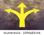 yellow arrow sign on road... | Shutterstock . vector #1096683146
