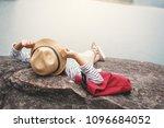 relaxing moment asian girl... | Shutterstock . vector #1096684052
