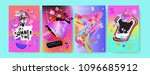 colorful summer poster set.... | Shutterstock .eps vector #1096685912