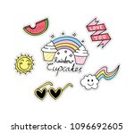 set of cute fashion patches | Shutterstock .eps vector #1096692605