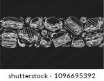 vector pattern with fast food... | Shutterstock .eps vector #1096695392