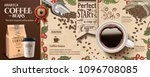 coffee bean ads in engraving... | Shutterstock .eps vector #1096708085