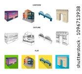 arc de triomphe in paris ... | Shutterstock .eps vector #1096713938