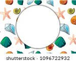 banner with shells in cartoon... | Shutterstock .eps vector #1096722932