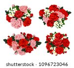 Stock vector vector set of floral composition with pink and red roses colorful spring flowers with green leaves 1096723046