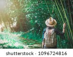 a woman with a backpack and a... | Shutterstock . vector #1096724816