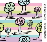 pattern with set of cute trees... | Shutterstock . vector #1096726115