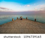 sunset at lake balaton pier ... | Shutterstock . vector #1096739165