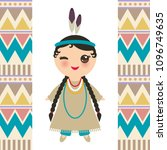 american indians kawaii girl in ...   Shutterstock .eps vector #1096749635